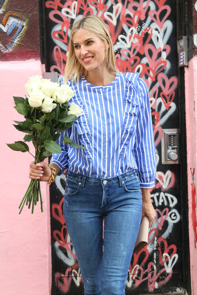 Pinstripes Jeans Jcrew Kristentaekman Stripes Ruffles Clutch Tde